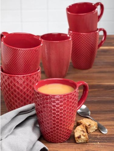 Ceramic Textured Mugs, Set of 6 (Color RED) Brand NEW With Box!!!