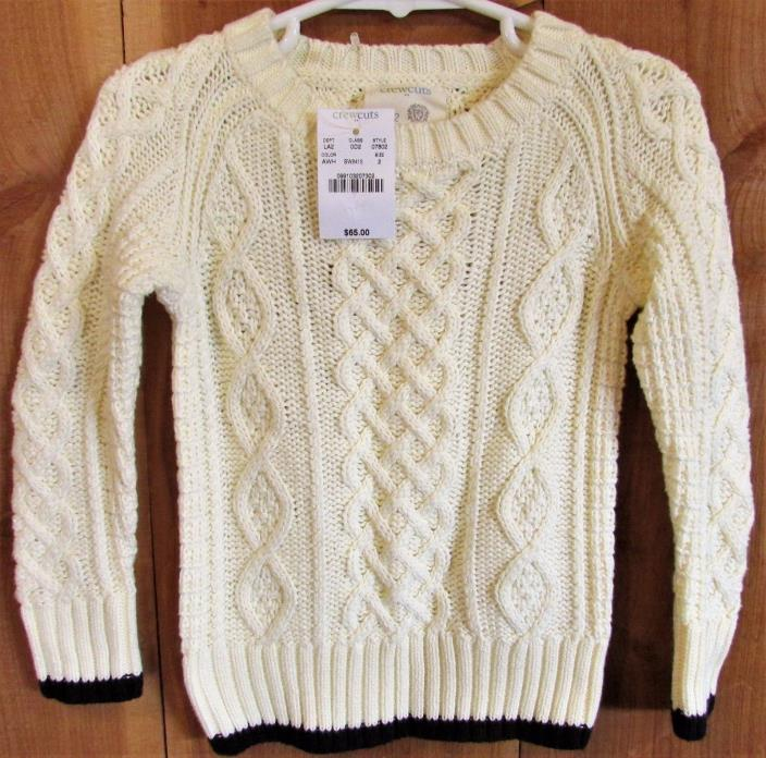 CREWCUTS New Boys cable knit sweater 4/5 4T 5T Ivory w/navy trim NWT $65