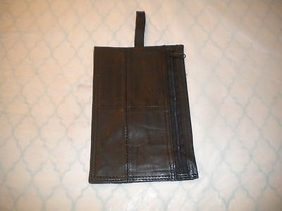 BLACK  Genuine Leather Slim Money BAG / Travel Pouch /  SIZE IS 4.5 X 6.75 IN
