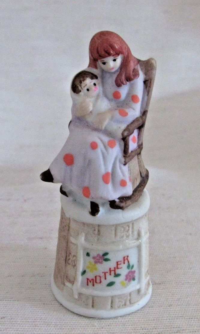 Vintage Thimble, Mother & Child in Rocking Chair, Bisque Finish, Enesco