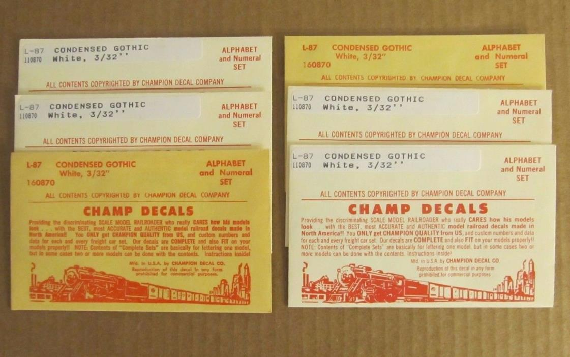 LOT of 6 HO Champ Decal CONDENSED GOTHIC WHITE 3/32