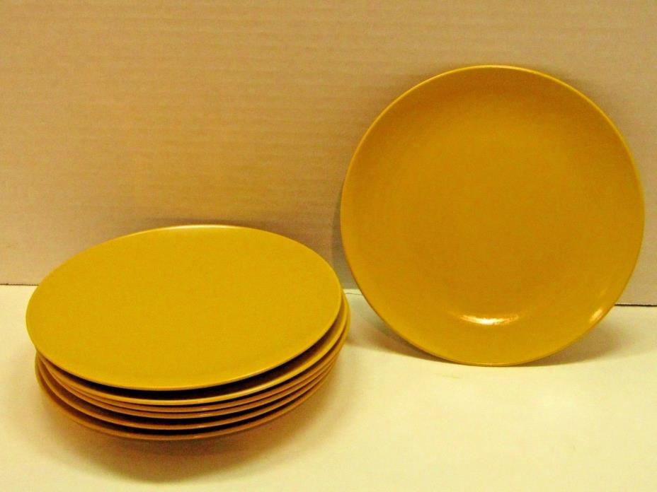 Lot of 7 Mustard Colored Melamine Snack Plates
