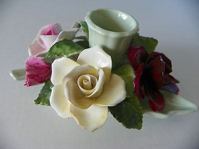 Radnor bone china leaf & flower candlestick holder Staffordshire England