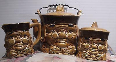 Vintage Pa Kettle Toby  Style Figural Teapot Sugar Bowl Cream Metal Handle Japan
