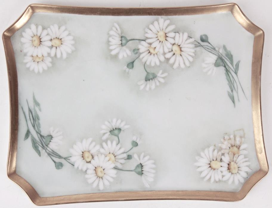 Antique Bavaria Platter Plate 142 Green with White Floral, Gold Trim Circa 1900