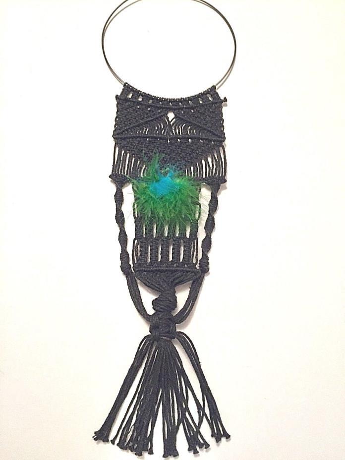 Vintage Macrame Choker Statement Necklace Black w/ Blue/Green Feather OOAK