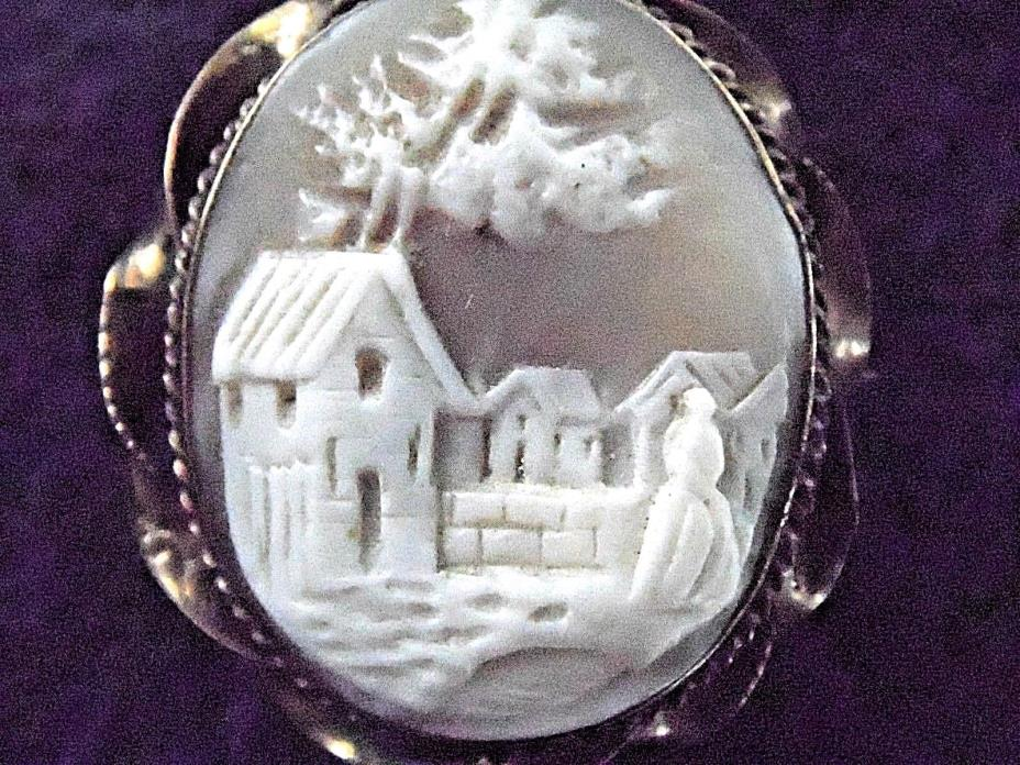 HANDMADE ANTIQUE VINTAGE 3-D CAMEO BROOCH FROM 1800's -
