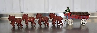 Vintage Clydesdale Horses & WAGON BUDWEISER BEER Cast Iron Toy Wagon Barrels