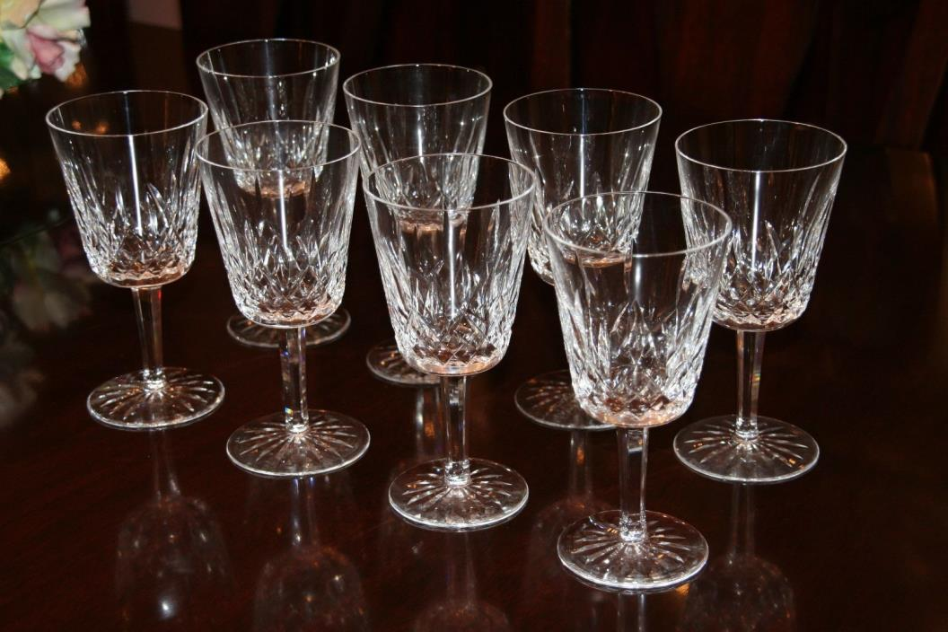 Set of 8 Waterford Lismore Lead Crystal Water Goblet Stems Excellent Signed
