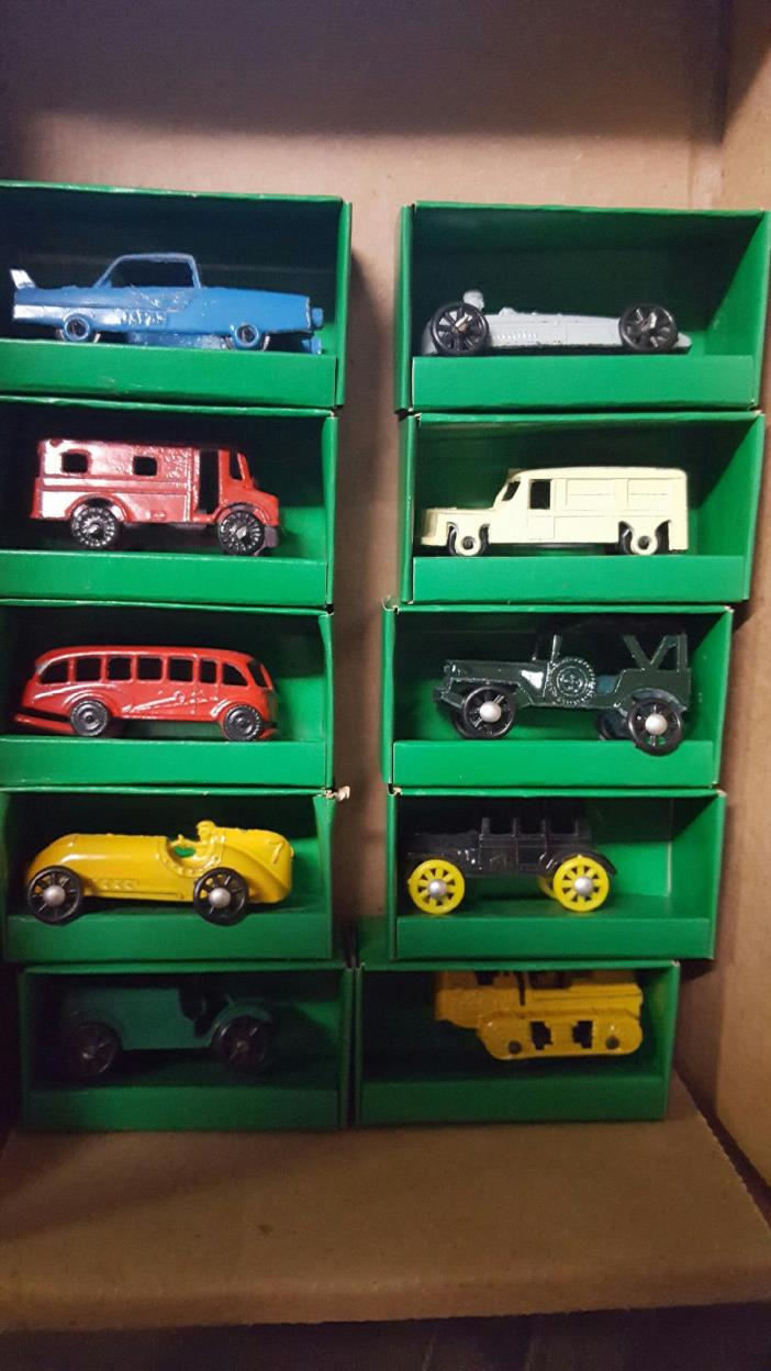 10 Miniature VINTAGE Painted Japan Metal CARS MINT IN DISPLAY BOXS 1950'S 60'S