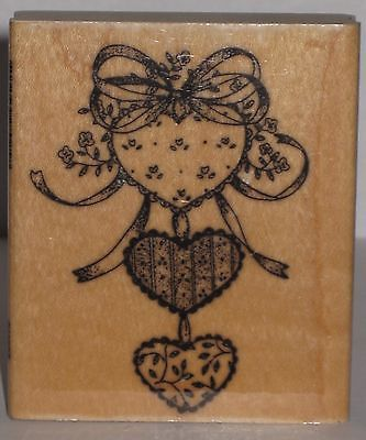 Artistic Stamp Exchange Stamp Rubber Stamp - Three Hearts and Ribbons
