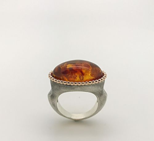 Handmade Natural Baltic Amber Silver Ring, Retro Love Rock Inspired Fashion