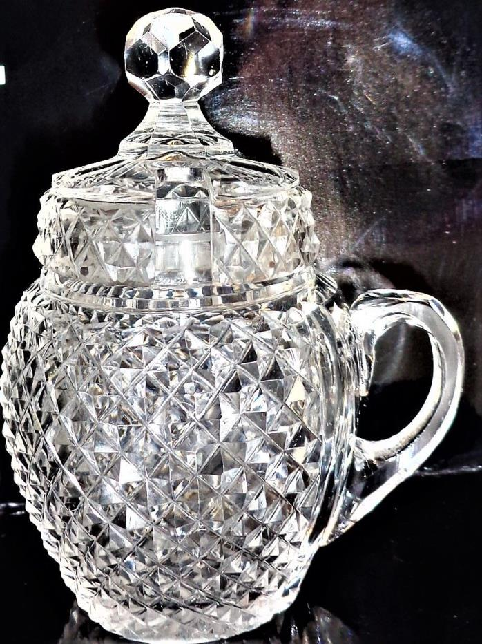 ANTIQUE MUSTARD POT W HANDLE & LID EXTRA FINE HAND CUT CRYSTAL EARLY WATERFORD?