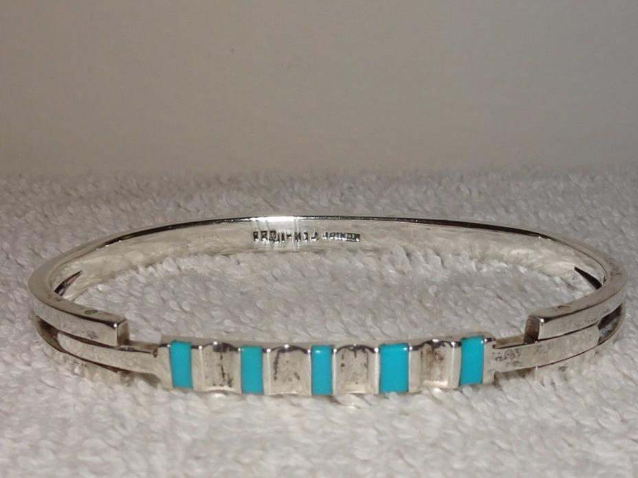 MEXICO 925 STERLING TURQUOISE TCH-10 BANGLE BRACELET