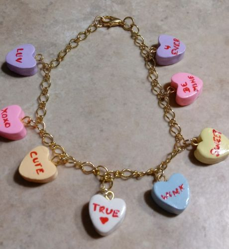 Cute Conversation Heart Charm Bracelet Gold Tone Clay Candy Holiday Valentine's
