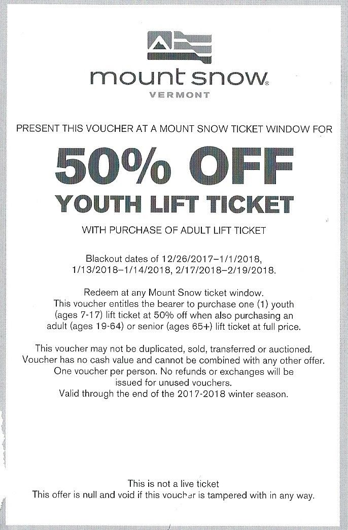 Mount Snow VT - 50% Off Youth Ticket with adult ticket purchase