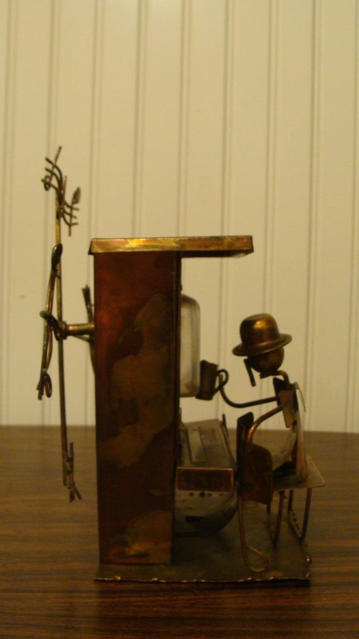 Vintage SANKYO Japan Copper Tin Metal Piano Player  Music Box, Works 7.5