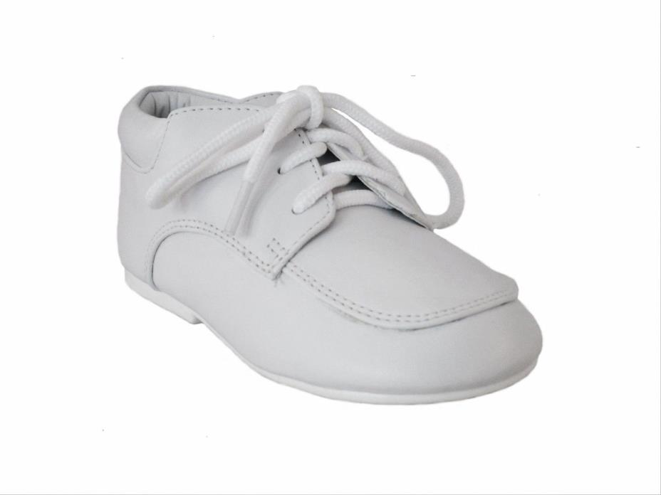 Modit boys white lace up christening dress shoes. Toddler size