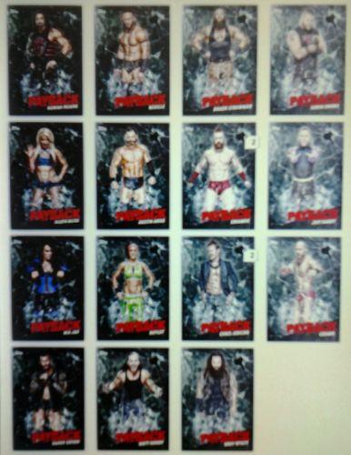 WWE TOPPS SLAM DIGITAL COMPLETE GREEN PAYBACK SET AWARD READY.15 CARD LOT
