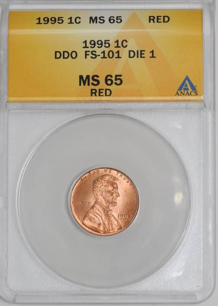 1995 Lincoln Cent 1c Doubled Die Obverse FS-101 Die 1 MS65 Red ANACS