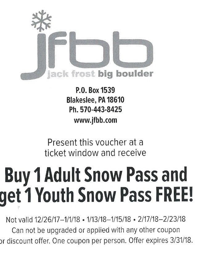 JFBB Jack Frost Big Boulder - Free Junior Ticket with adult ticket purchase