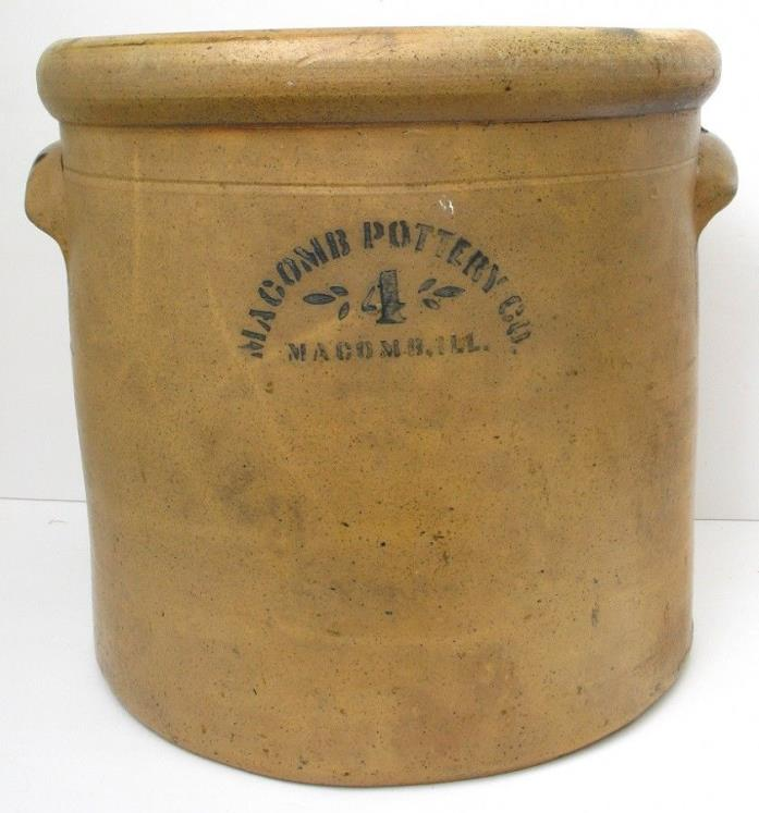 Antique/Vintage MACOMB POTTERY Stoneware 4 GALLON CROCK
