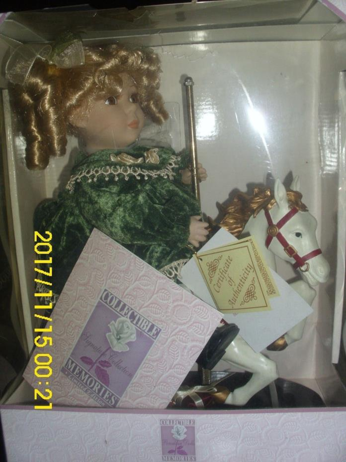 Collectible Fine Bisque Limited Edition Porcelain Doll Riding On Carousel