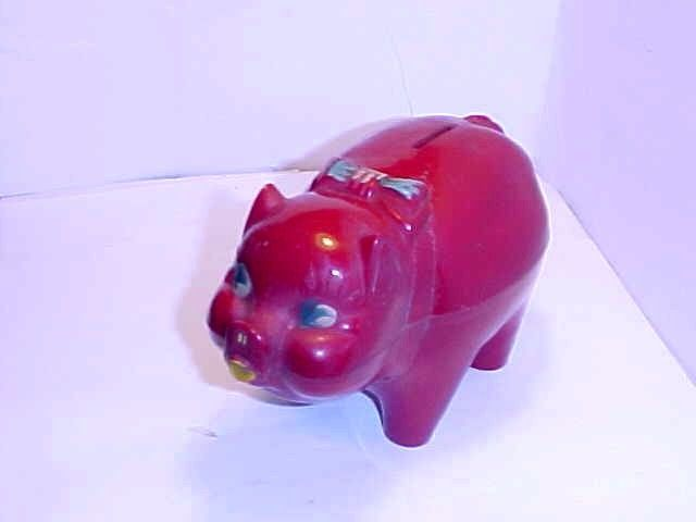 1950s Red Piggy Bank by Toy Town of New York