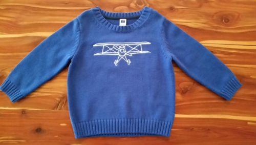 Janie and Jack Blue Plane Sweater 18-24 Months NWT