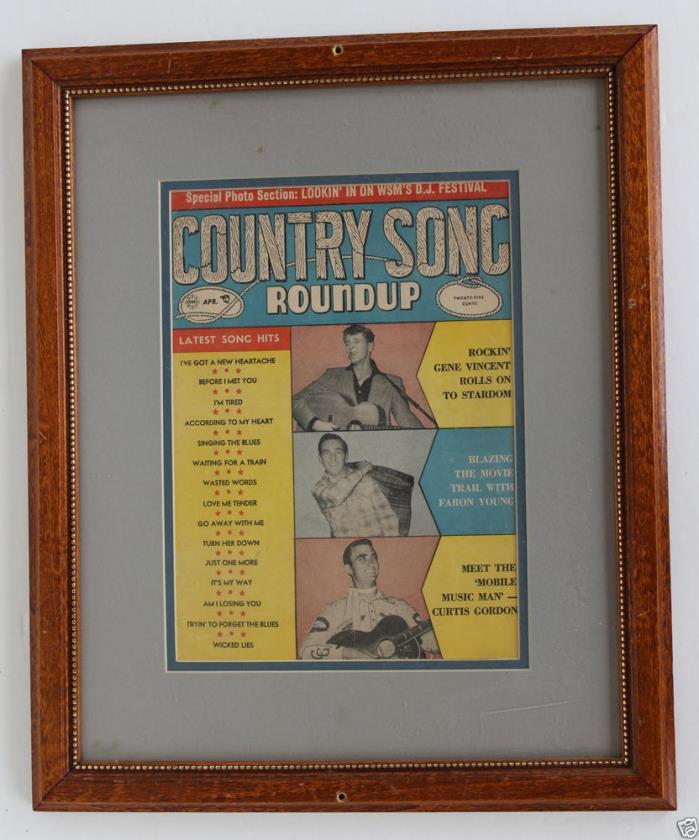 Song Country Roundup Framed Vintage Lyrics Publication (1956?)