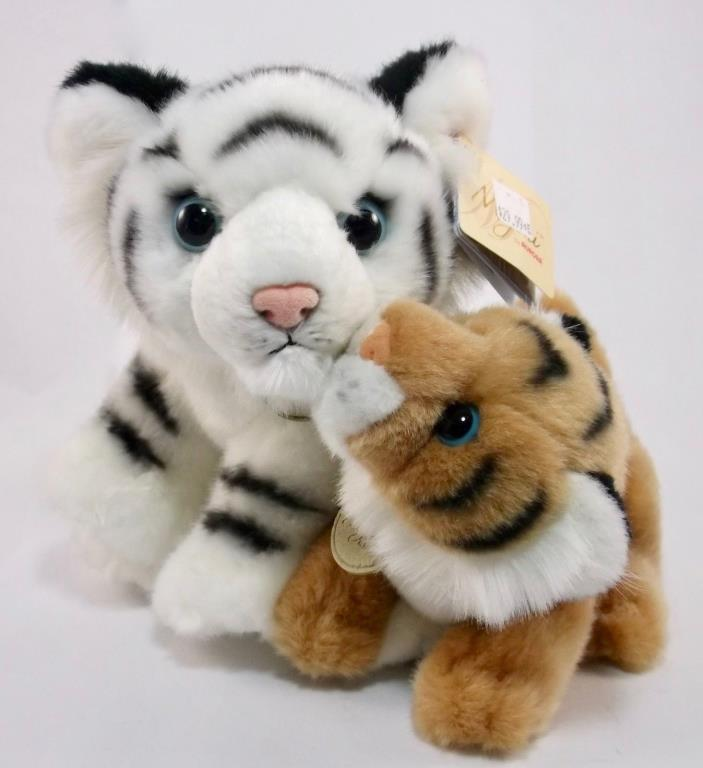 Miyoni Aurora Unlikely Friends Kissing Plush Tigers Handmade Siberian African