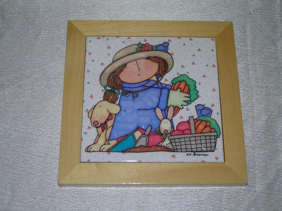Sue Dreamer Marked Girl Dog Rabbit & Basket of Vegetables Ceramic Tile Trivet