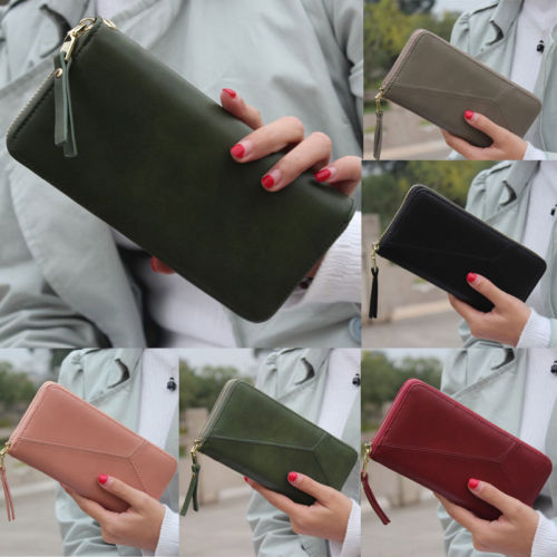 US NEW Women Leather Wallet Case Clutch Purse Lady Long Handbag Card Holder