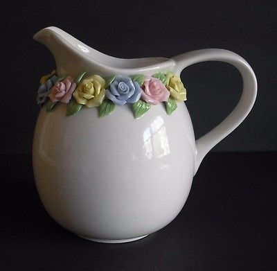 White Decorative Ceramic Pitcher Accented w/ A Garland of Spring Roses