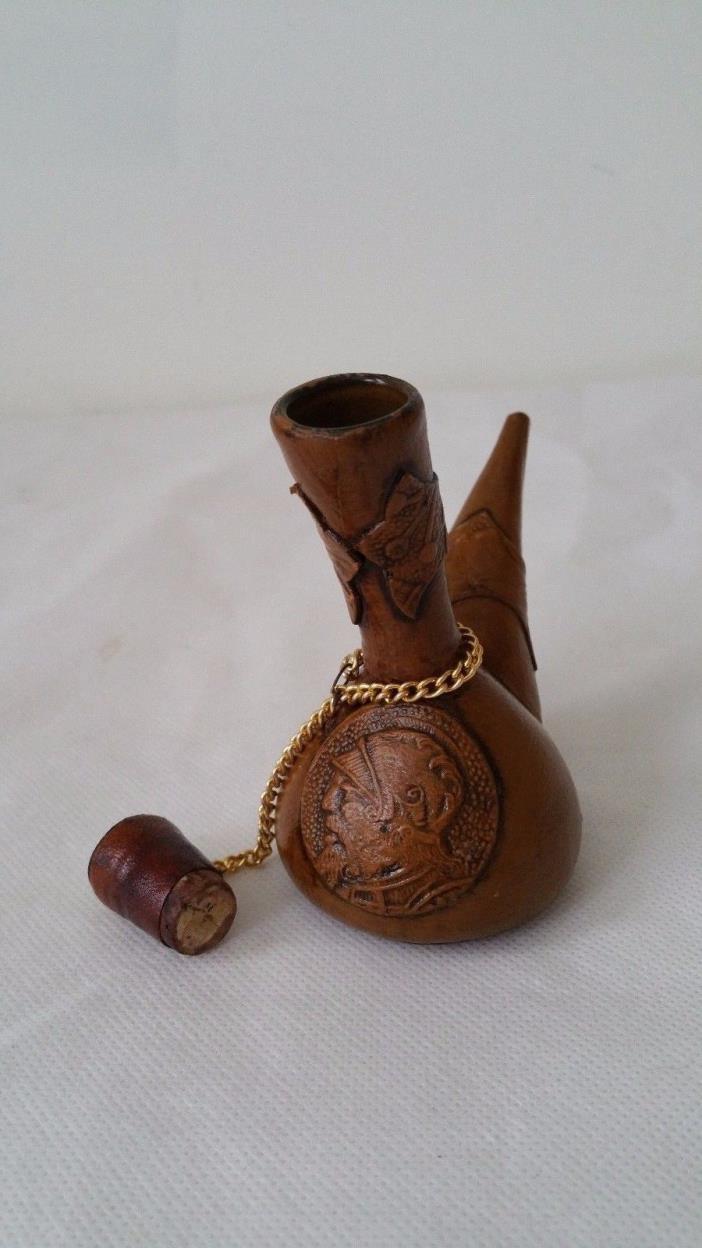 Blown Glass Sprinkler Ewer Leather Wrapped Bottle Vessel Amphora Flask Carafe