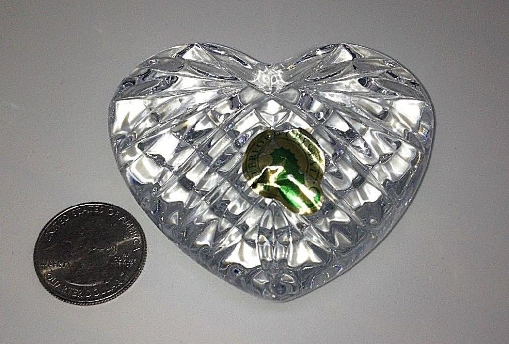 Waterford Heart Paperweight Hand Cooler Irish Crystal Wedding Heirloom PRE-OWNED