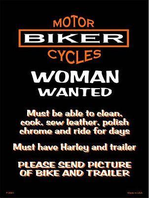 Biker Woman Wanted Metal Novelty Parking Sign ~ Man Cave Sign