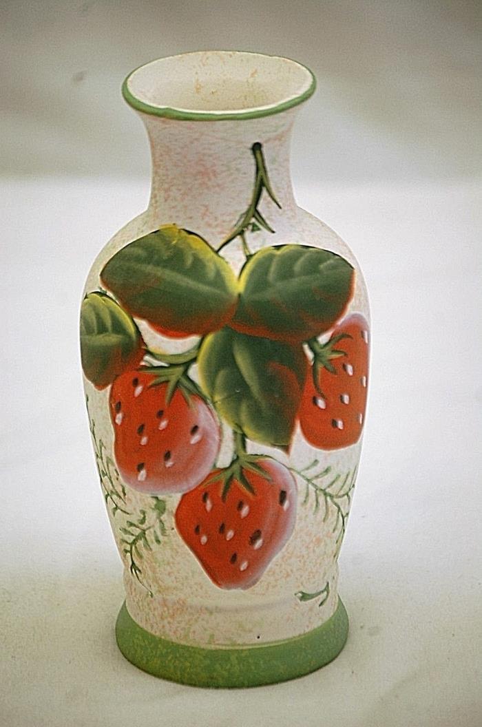 Classic Style Art Pottery Vase w Strawberry Scene Decorative Home Garden Decor