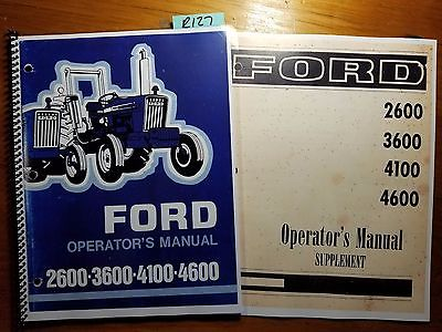Ford 2600 3600 4100 4600 Tractor 1975-1981 Owner Operator Manual + Supplement