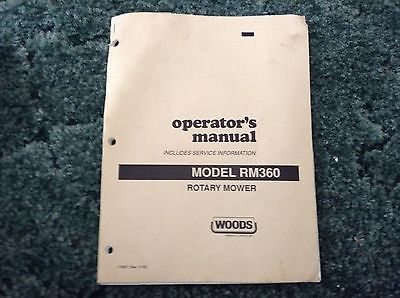 F-8027 - Is A New Operators Manual For A Woods RM360 Rotary Mower.