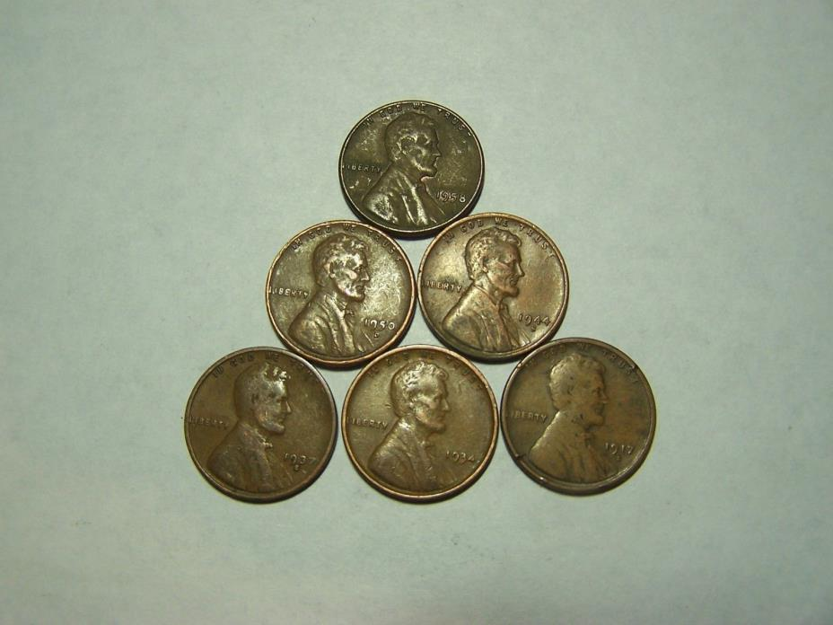 6-Lincoln Wheats 1917-S 1934 1937-S 1944-S 1950-D 1958