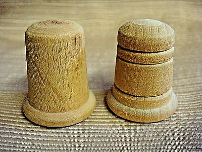 2 Different HANDRAFTED WOODEN THIMBLES