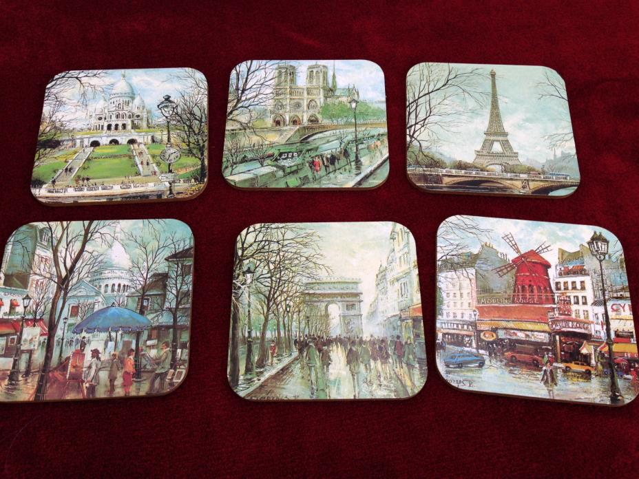 VINTAGE SET OF 6 COASTERS WITH FRENCH SITES - NEW - MADE IN THE CZECH REPUBLIC