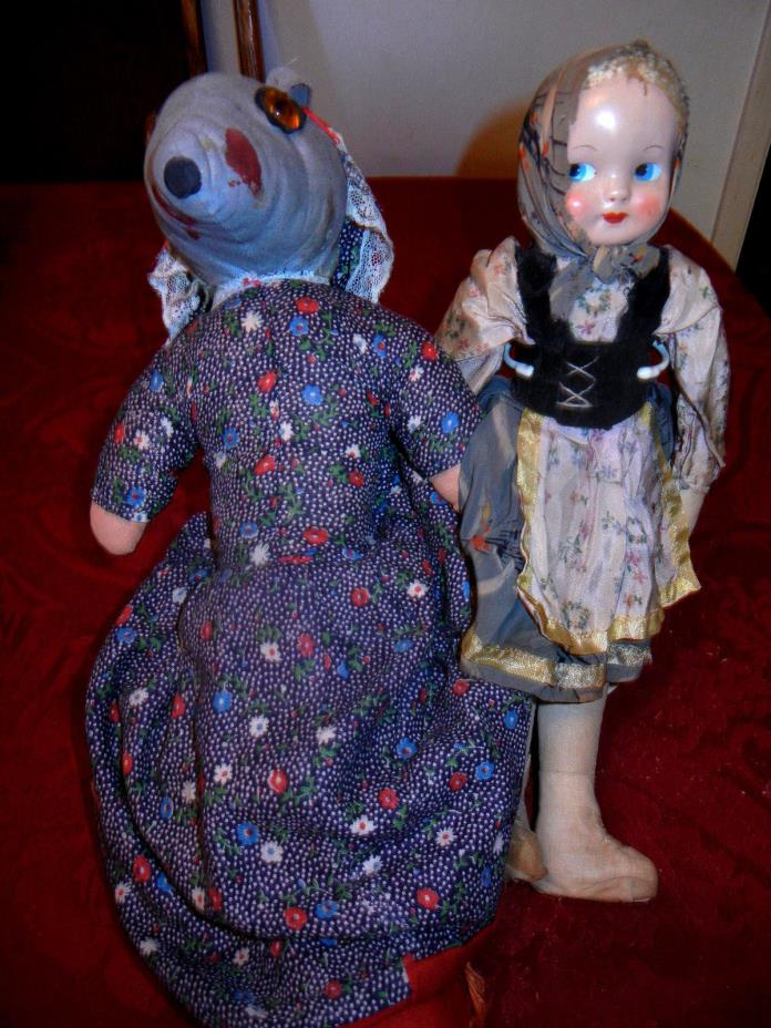 2 Vtg Antique Dolls Sawdust Filled Celluloid Polish Cloth Topsy Turvey Lot As-Is