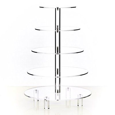 Hayley Cherie 5-Tier Round Cupcake Stand Acrylic Tiered Cake Dessert or Tower