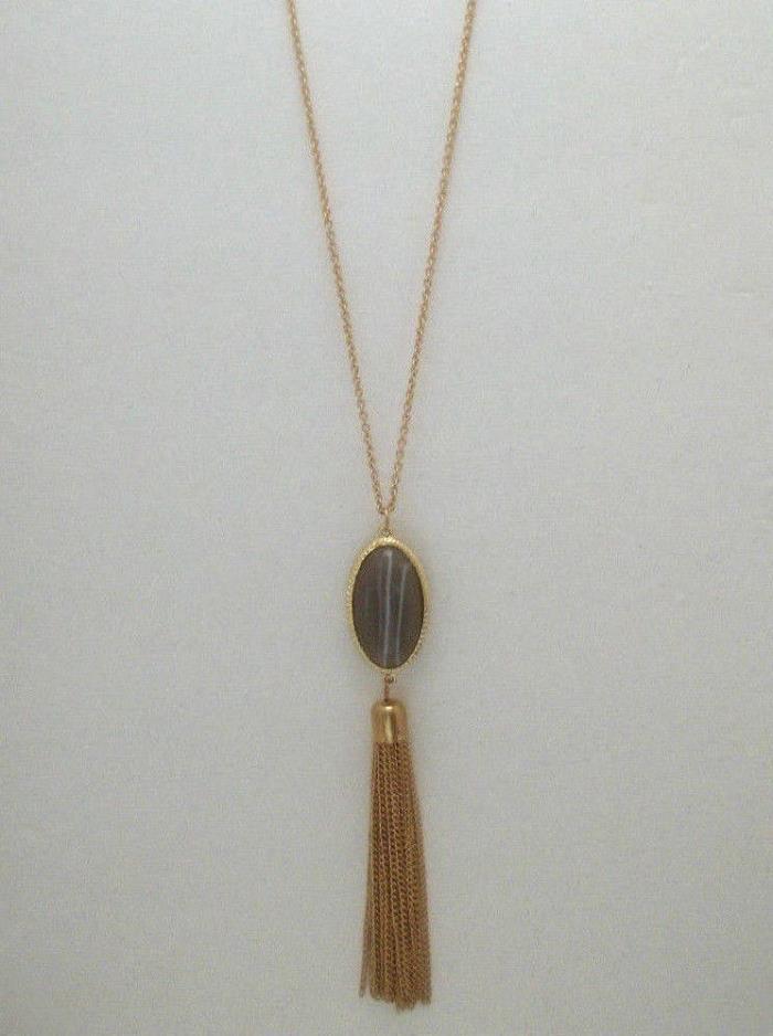 Long Tassel Necklace Oval Fob Focal Stone Acrylic Agate Bezel Chain Tassel 30
