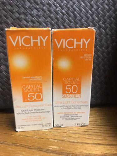 (2) Vichy Capital Soleil 50  Ultra Light Sunscreen Fluid 1.7 oz (50mL) each