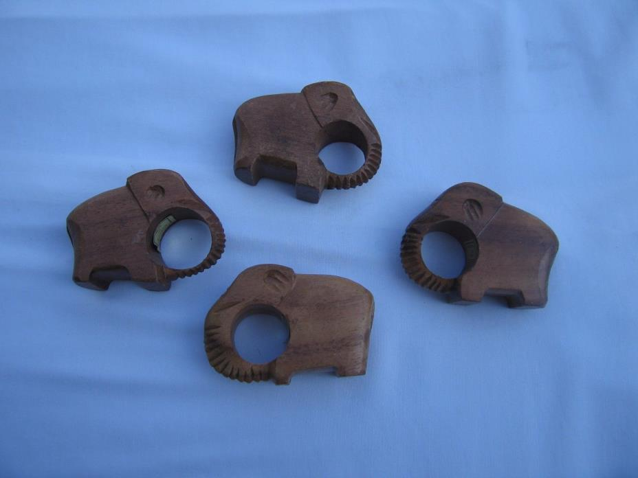Vintage Set of (4) Hand Carved Wooden Elephant Napkin Rings Made in Philippines