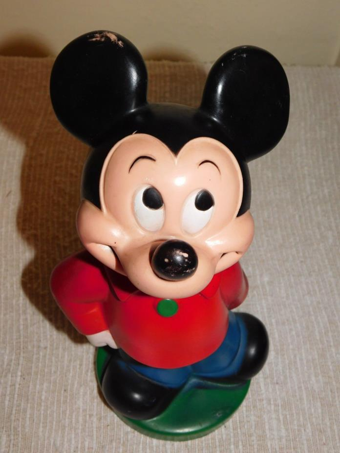 Vintage Mickey Mouse 1970's Play Pal plastic coin Bank, Walt Disney, Red, Black