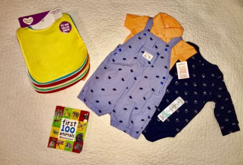 Baby Boy (9 Months) Lot Sale NWT (colthes/book/bibs)